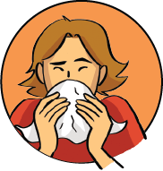 A drawing of a person covering their mouth with a white tissue as they cough or sneeze
