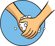 A drawing of a pair of hands washing each other, soap suds foaming.